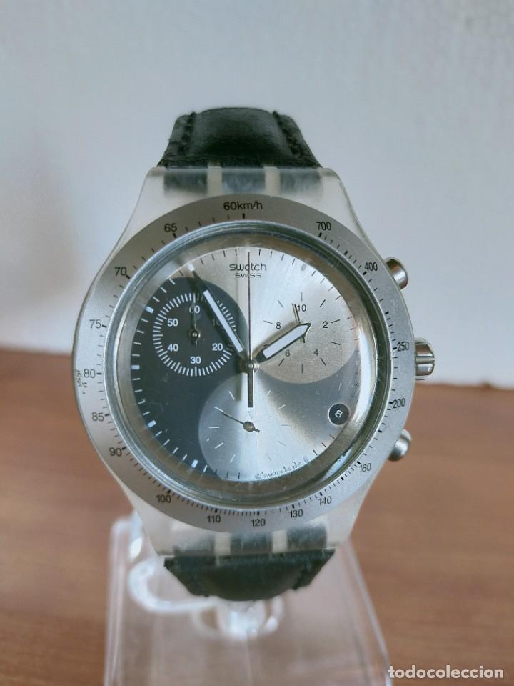 RELOJ CABALLERO SWATCH IRONY CRONO DE CUARZO SUIZO CORREA NEGRA, FUNCIONANDO PARA SU USO DIARIO. (Relojes - Relojes Actuales - Swatch)