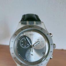 Relojes - Swatch: RELOJ CABALLERO SWATCH IRONY CRONO DE CUARZO SUIZO CORREA NEGRA, FUNCIONANDO PARA SU USO DIARIO.. Lote 213656232