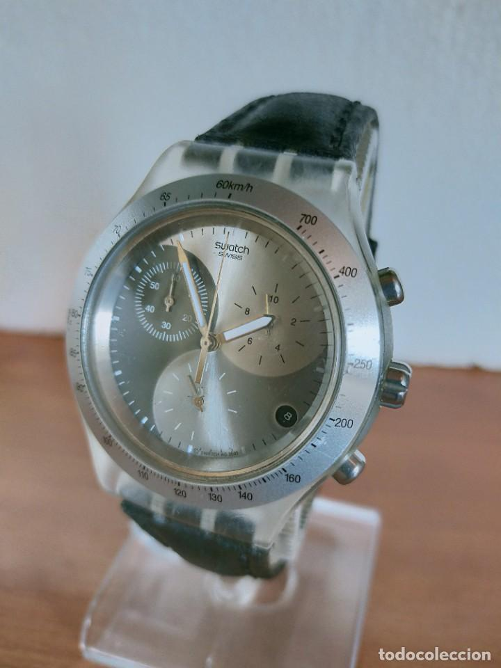 Relojes - Swatch: Reloj caballero SWATCH Irony crono de cuarzo Suizo correa negra, funcionando para su uso diario. - Foto 2 - 213656232