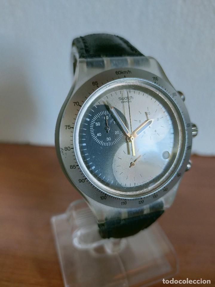 Relojes - Swatch: Reloj caballero SWATCH Irony crono de cuarzo Suizo correa negra, funcionando para su uso diario. - Foto 3 - 213656232
