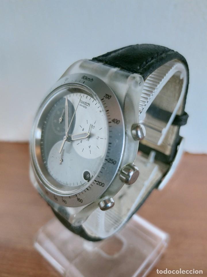 Relojes - Swatch: Reloj caballero SWATCH Irony crono de cuarzo Suizo correa negra, funcionando para su uso diario. - Foto 4 - 213656232