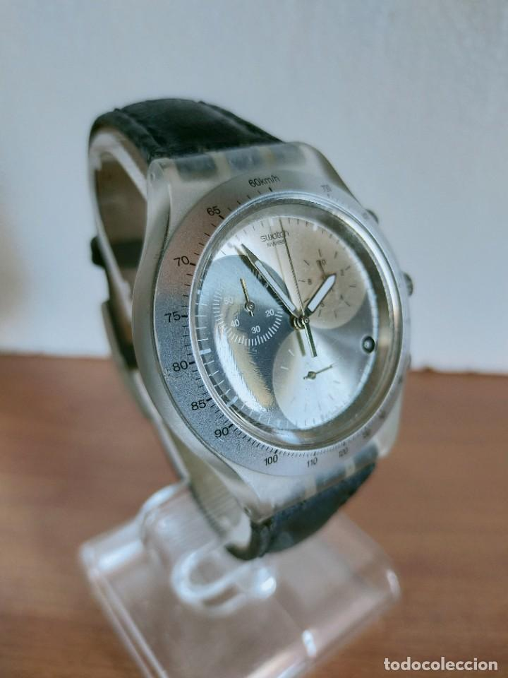 Relojes - Swatch: Reloj caballero SWATCH Irony crono de cuarzo Suizo correa negra, funcionando para su uso diario. - Foto 5 - 213656232