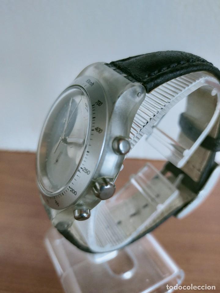 Relojes - Swatch: Reloj caballero SWATCH Irony crono de cuarzo Suizo correa negra, funcionando para su uso diario. - Foto 6 - 213656232