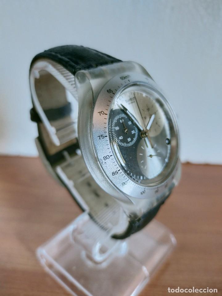 Relojes - Swatch: Reloj caballero SWATCH Irony crono de cuarzo Suizo correa negra, funcionando para su uso diario. - Foto 7 - 213656232
