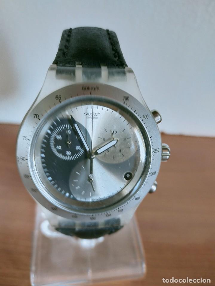 Relojes - Swatch: Reloj caballero SWATCH Irony crono de cuarzo Suizo correa negra, funcionando para su uso diario. - Foto 12 - 213656232