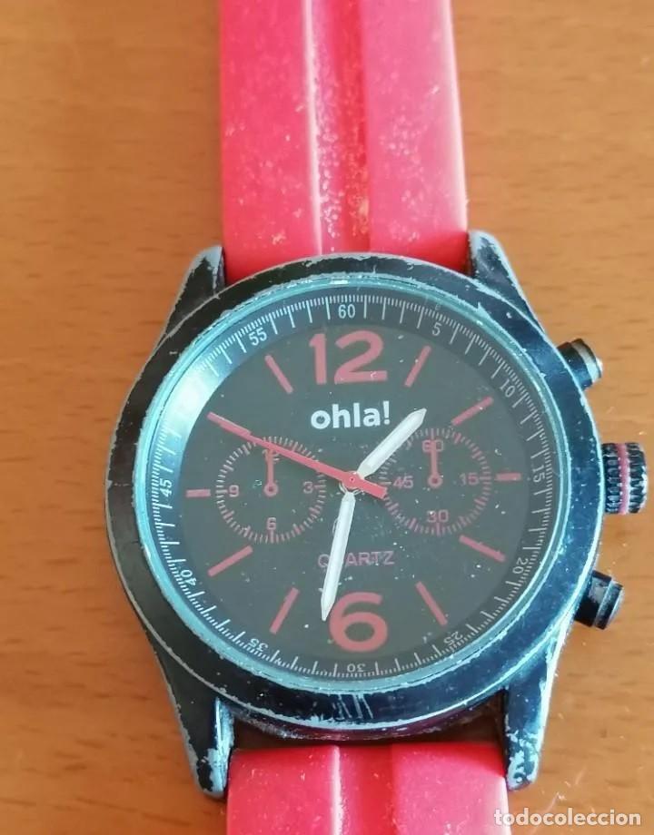 JUVENIL RELOJ MARCA *OHLA!* DE LA CASA CITIZEN, CON ESFERA NEGRA Y CORREA DE GOMA ROSA. (Relojes - Relojes Actuales - Swatch)