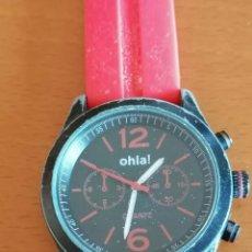 Relojes - Swatch: JUVENIL RELOJ MARCA *OHLA!* DE LA CASA CITIZEN, CON ESFERA NEGRA Y CORREA DE GOMA ROSA.. Lote 218290107