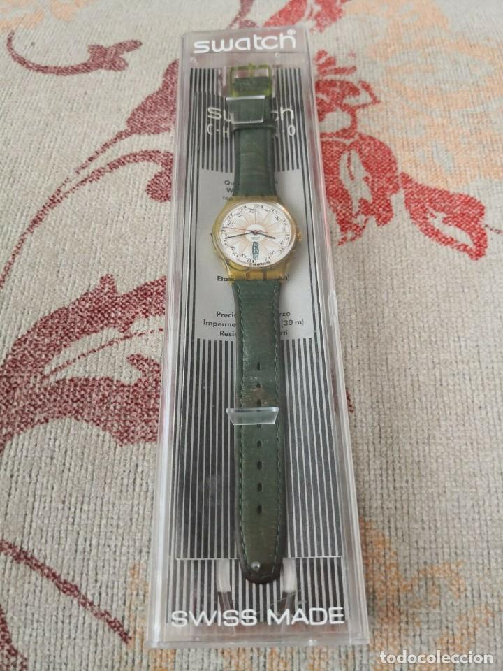 SWATCH TOP CLASS GK 707 DAY DATE 1993 LEATHER GREEN STRAP RELOJ CORREA VERDE (Relojes - Relojes Actuales - Swatch)