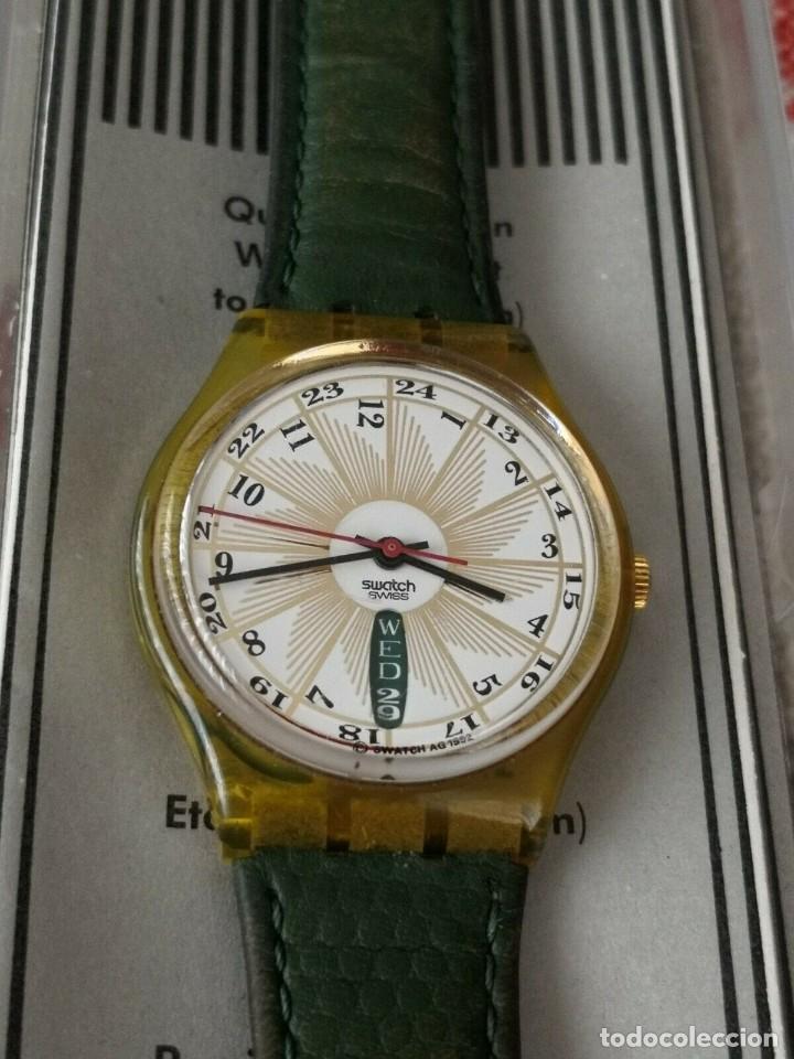 Relojes - Swatch: Swatch Top Class GK 707 Day Date 1993 Leather Green Strap Reloj Correa Verde - Foto 2 - 270364773