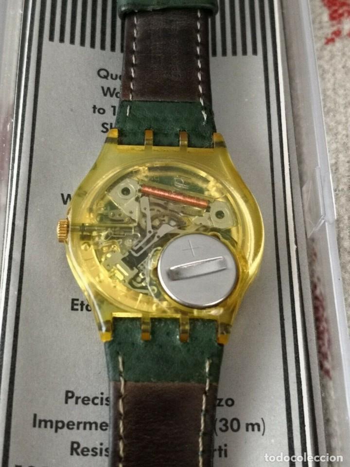 Relojes - Swatch: Swatch Top Class GK 707 Day Date 1993 Leather Green Strap Reloj Correa Verde - Foto 3 - 270364773