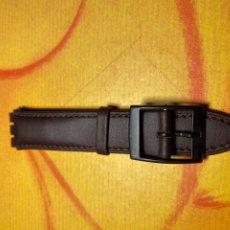 Relojes - Swatch: CORREA PARA RELOJ SWATCH PIEL MARRÓN OSCURO NUEVA. Lote 292504998