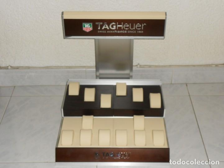 TAG HEUER EXPOSITOR ORIGINAL OFICIAL METAL MADERA Y PIEL DISPLAY LOGOTIPO (Relojes - Relojes Actuales - Tag Heuer )