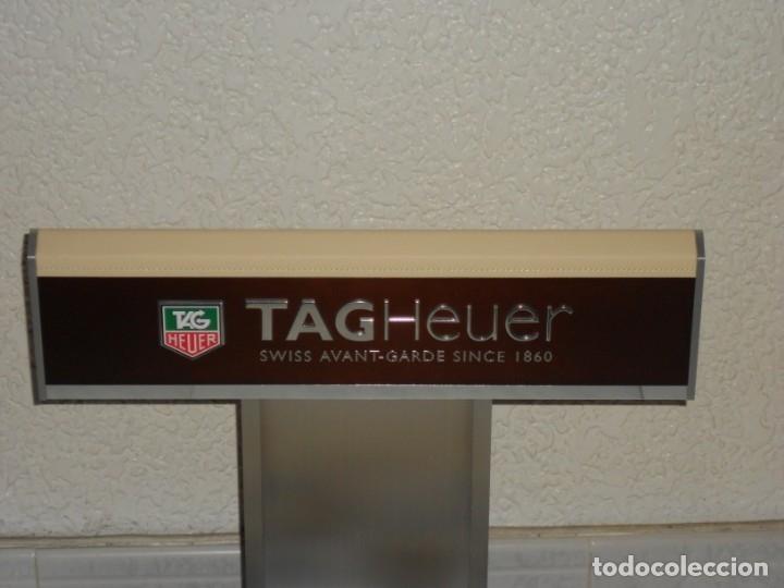 Relojes - Tag Heuer: TAG HEUER EXPOSITOR ORIGINAL OFICIAL METAL MADERA Y PIEL DISPLAY LOGOTIPO - Foto 3 - 173102043