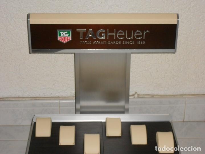Relojes - Tag Heuer: TAG HEUER EXPOSITOR ORIGINAL OFICIAL METAL MADERA Y PIEL DISPLAY LOGOTIPO - Foto 5 - 173102043