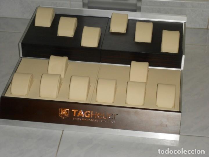 Relojes - Tag Heuer: TAG HEUER EXPOSITOR ORIGINAL OFICIAL METAL MADERA Y PIEL DISPLAY LOGOTIPO - Foto 6 - 173102043