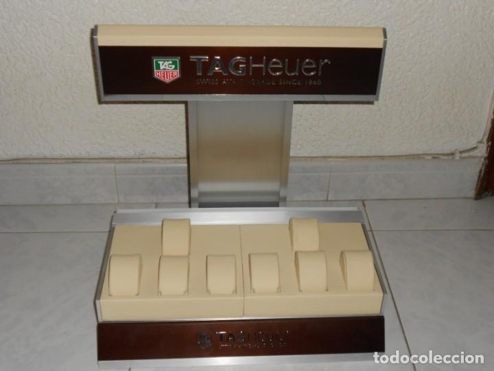 Relojes - Tag Heuer: TAG HEUER EXPOSITOR ORIGINAL OFICIAL METAL MADERA Y PIEL DISPLAY LOGOTIPO - Foto 10 - 173102043