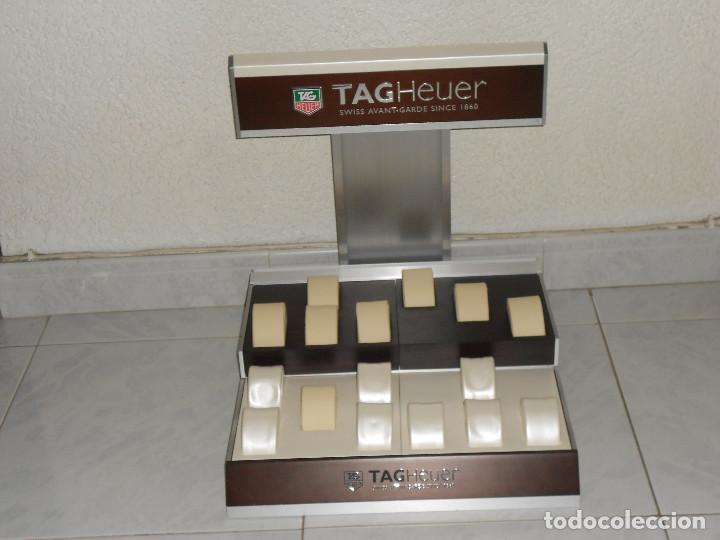 Relojes - Tag Heuer: TAG HEUER EXPOSITOR ORIGINAL OFICIAL METAL MADERA Y PIEL DISPLAY LOGOTIPO DOBLE - Foto 3 - 217053930