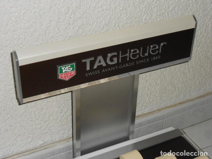 Relojes - Tag Heuer: TAG HEUER EXPOSITOR ORIGINAL OFICIAL METAL MADERA Y PIEL DISPLAY LOGOTIPO DOBLE - Foto 8 - 217053930