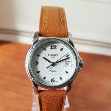 Relojes - Tissot: RELOJ SEÑORA TISSOT 1853 EN ACERO CON CALENDARIO A LAS TRES, CORREA DE CUERO MARRÓN NUEVA SIN USO. Lote 105748611