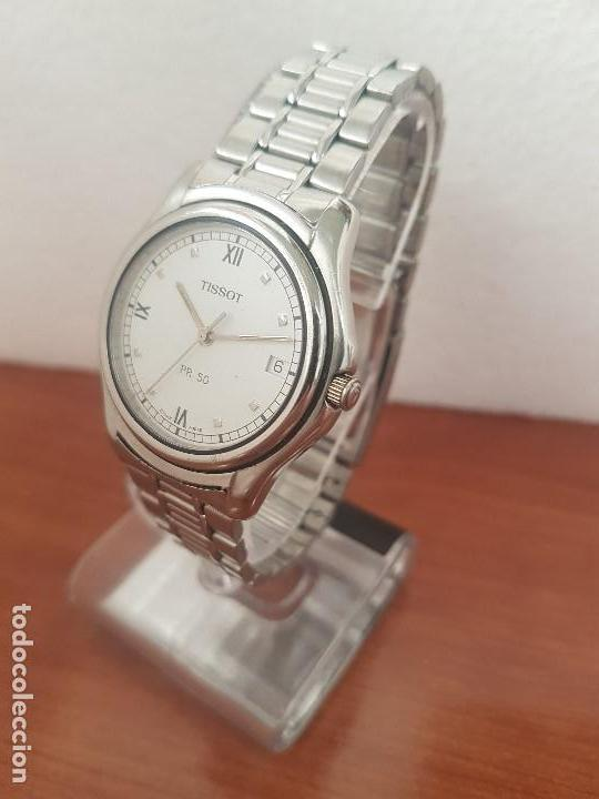 Relojes - Tissot: Reloj caballero Tissot de cuarzo Suizo acero, calendario a las tres, correa de acero original Tissot - Foto 3 - 173448564