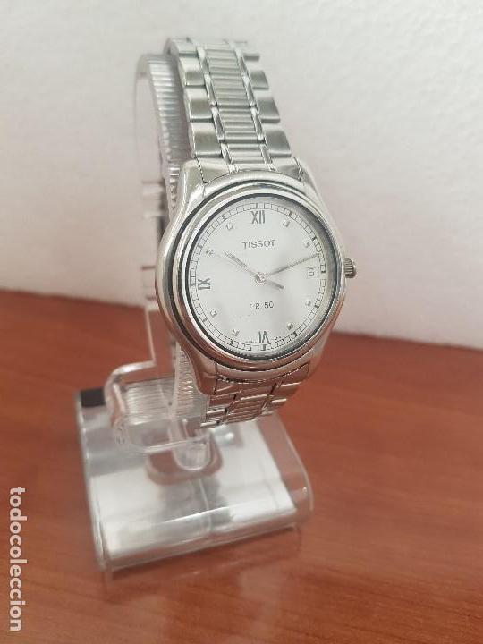 Relojes - Tissot: Reloj caballero Tissot de cuarzo Suizo acero, calendario a las tres, correa de acero original Tissot - Foto 4 - 173448564