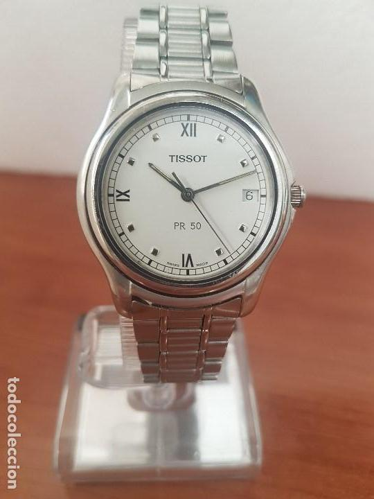 Relojes - Tissot: Reloj caballero Tissot de cuarzo Suizo acero, calendario a las tres, correa de acero original Tissot - Foto 11 - 173448564