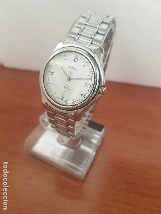 Relojes - Tissot: Reloj caballero Tissot de cuarzo Suizo acero, calendario a las tres, correa de acero original Tissot - Foto 15 - 173448564