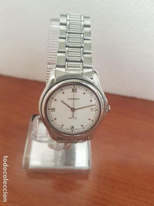 Relojes - Tissot: Reloj caballero Tissot de cuarzo Suizo acero, calendario a las tres, correa de acero original Tissot - Foto 17 - 173448564