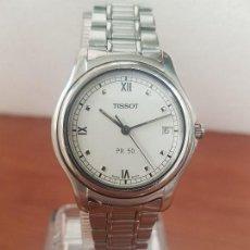 Relojes - Tissot: RELOJ CABALLERO TISSOT DE CUARZO SUIZO ACERO, CALENDARIO A LAS TRES, CORREA DE ACERO ORIGINAL TISSOT. Lote 173448564