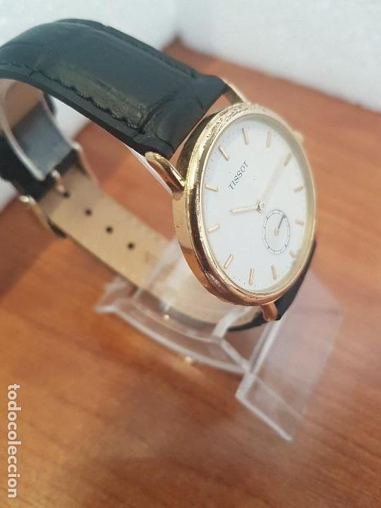 Relojes - Tissot: Reloj caballero (Vintage) TISSOT Suizo de cuarzo en acero, segundero a las seis horas, correa cuero - Foto 3 - 154677678