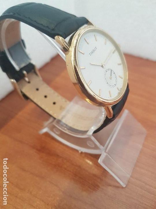 Relojes - Tissot: Reloj caballero (Vintage) TISSOT Suizo de cuarzo en acero, segundero a las seis horas, correa cuero - Foto 5 - 154677678