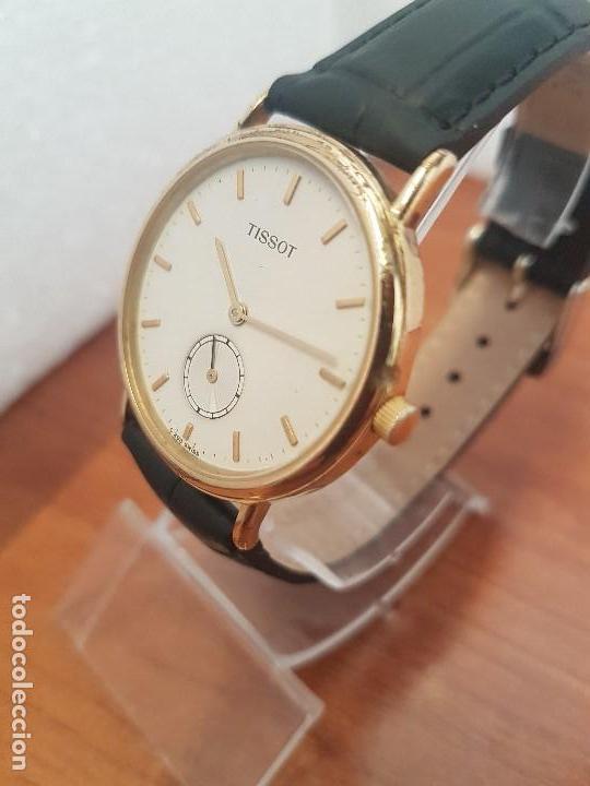 Relojes - Tissot: Reloj caballero (Vintage) TISSOT Suizo de cuarzo en acero, segundero a las seis horas, correa cuero - Foto 8 - 154677678