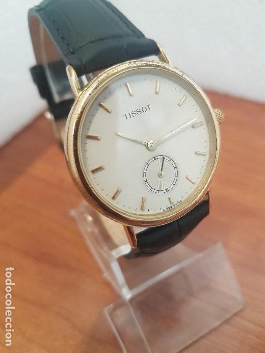 Relojes - Tissot: Reloj caballero (Vintage) TISSOT Suizo de cuarzo en acero, segundero a las seis horas, correa cuero - Foto 9 - 154677678