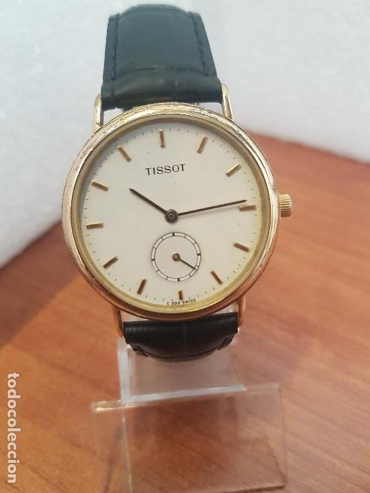 Relojes - Tissot: Reloj caballero (Vintage) TISSOT Suizo de cuarzo en acero, segundero a las seis horas, correa cuero - Foto 10 - 154677678