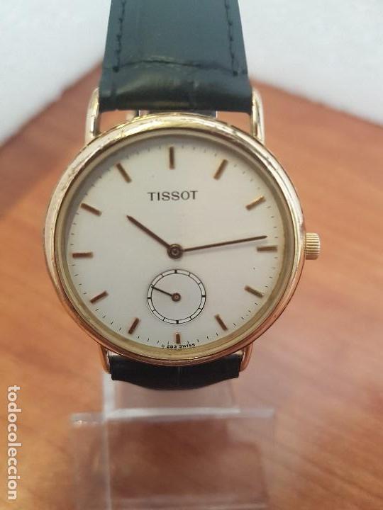 Relojes - Tissot: Reloj caballero (Vintage) TISSOT Suizo de cuarzo en acero, segundero a las seis horas, correa cuero - Foto 12 - 154677678