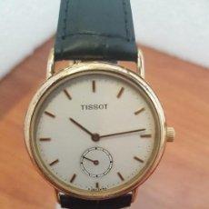 Relojes - Tissot: RELOJ CABALLERO (VINTAGE) TISSOT SUIZO DE CUARZO EN ACERO, SEGUNDERO A LAS SEIS HORAS, CORREA CUERO. Lote 154677678