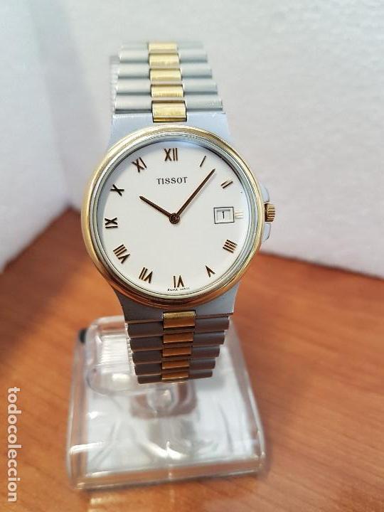 Relojes - Tissot: Reloj caballero (Vintage) TISSOT Suizo de cuarzo en acero y oro, calendario a las tres horas - Foto 3 - 154613422