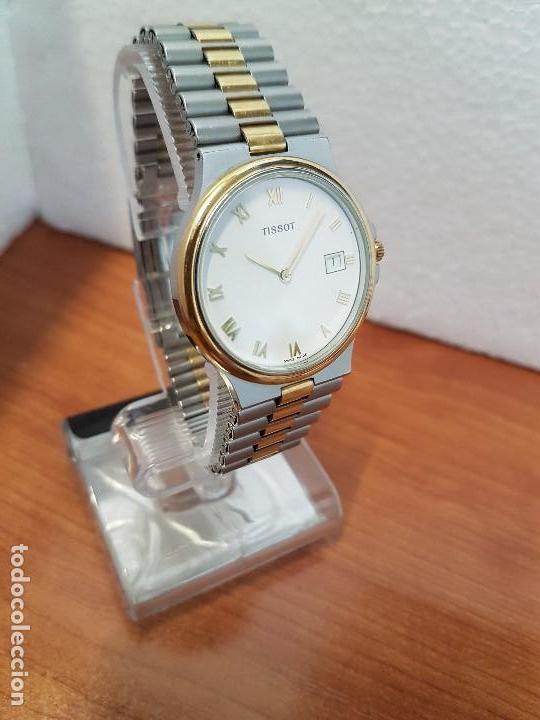 Relojes - Tissot: Reloj caballero (Vintage) TISSOT Suizo de cuarzo en acero y oro, calendario a las tres horas - Foto 6 - 154613422