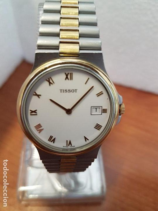 Relojes - Tissot: Reloj caballero (Vintage) TISSOT Suizo de cuarzo en acero y oro, calendario a las tres horas - Foto 8 - 154613422