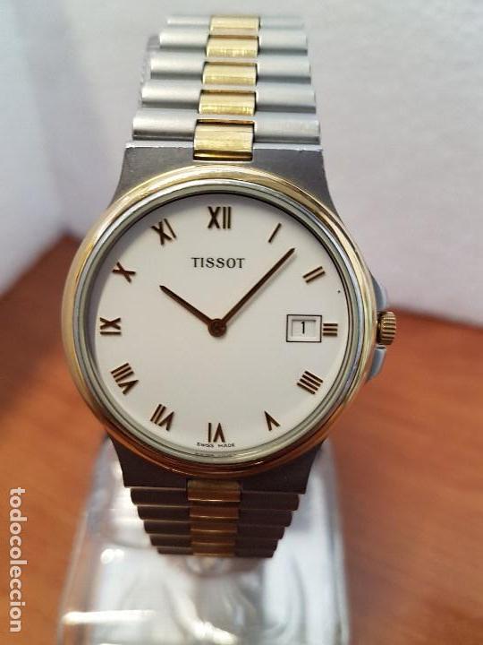 Relojes - Tissot: Reloj caballero (Vintage) TISSOT Suizo de cuarzo en acero y oro, calendario a las tres horas - Foto 10 - 154613422