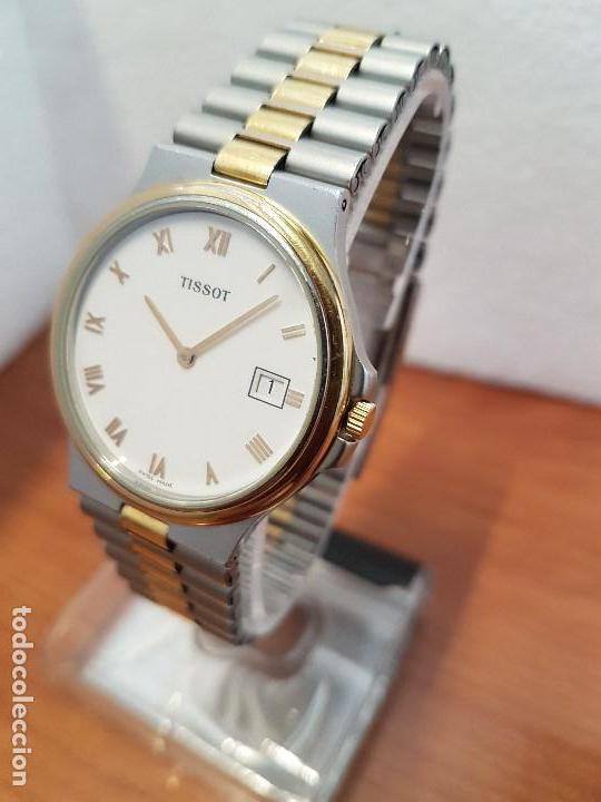 Relojes - Tissot: Reloj caballero (Vintage) TISSOT Suizo de cuarzo en acero y oro, calendario a las tres horas - Foto 11 - 154613422