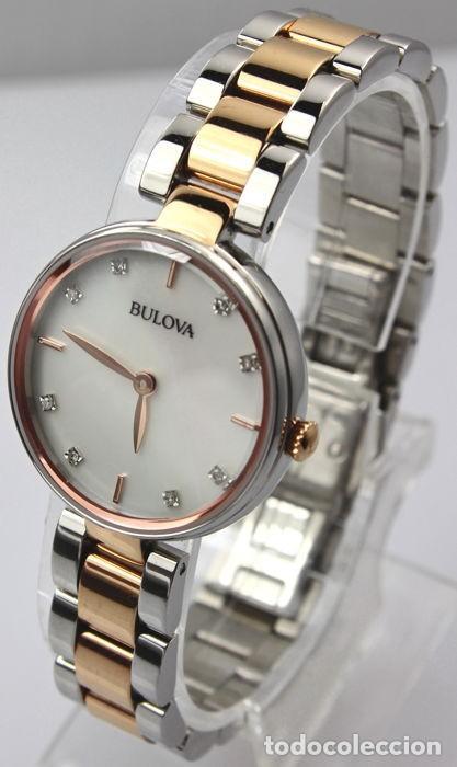 Relojes - Tissot: Bulowa: lujoso reloj de señora, 98S147, con 8 diamantes reales en los marcadores. Acero y oro rosa. - Foto 2 - 159416814