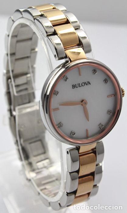 Relojes - Tissot: Bulowa: lujoso reloj de señora, 98S147, con 8 diamantes reales en los marcadores. Acero y oro rosa. - Foto 3 - 159416814