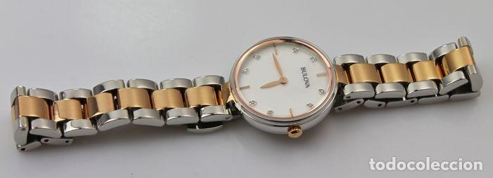 Relojes - Tissot: Bulowa: lujoso reloj de señora, 98S147, con 8 diamantes reales en los marcadores. Acero y oro rosa. - Foto 4 - 159416814