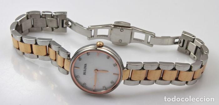 Relojes - Tissot: Bulowa: lujoso reloj de señora, 98S147, con 8 diamantes reales en los marcadores. Acero y oro rosa. - Foto 5 - 159416814