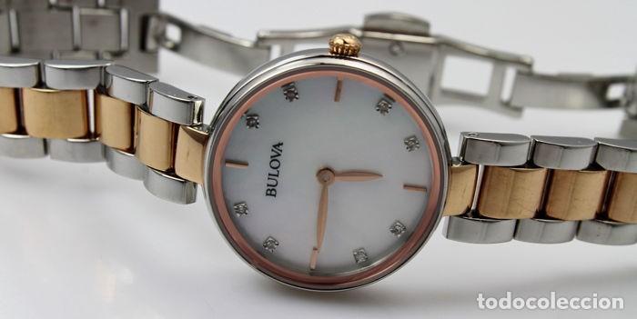 Relojes - Tissot: Bulowa: lujoso reloj de señora, 98S147, con 8 diamantes reales en los marcadores. Acero y oro rosa. - Foto 6 - 159416814