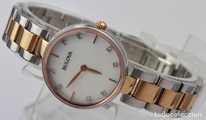 Relojes - Tissot: Bulowa: lujoso reloj de señora, 98S147, con 8 diamantes reales en los marcadores. Acero y oro rosa. - Foto 9 - 159416814