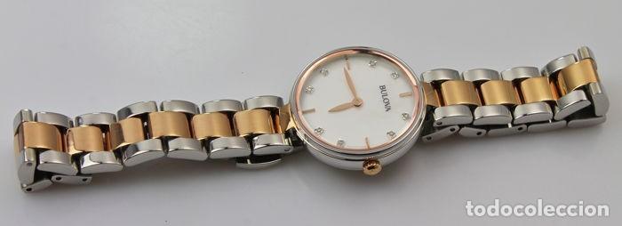 Relojes - Tissot: Bulowa: lujoso reloj de señora, 98S147, con 8 diamantes reales en los marcadores. Acero y oro rosa. - Foto 12 - 159416814