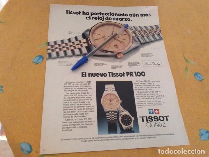 ANTIGUO ANUNCIO PUBLICIDAD REVISTA RELOJ TISSOT QUARZ PR 100 ESPECIAL PARA ENMARCAR (Relojes - Relojes Actuales - Tissot)
