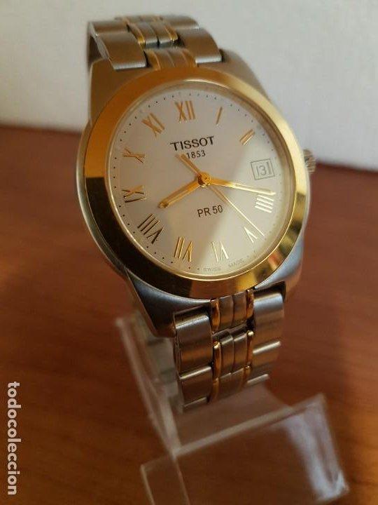 Relojes - Tissot: Reloj caballero TISSOT 1853 de acero bicolor con calendario, esfera blanca, correa original TISSOT - Foto 3 - 190998008